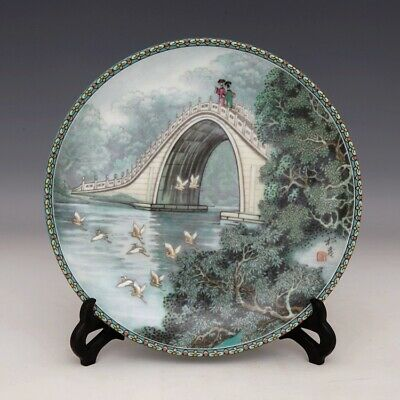 Collectable China Old Porcelain Hand-Paint Figure & Scenery Delicate Dish Statue