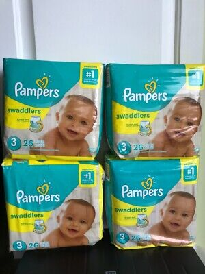Pampers Swaddlers Size 3- Total count=104 diapers (4 packs each with 26 diapers)