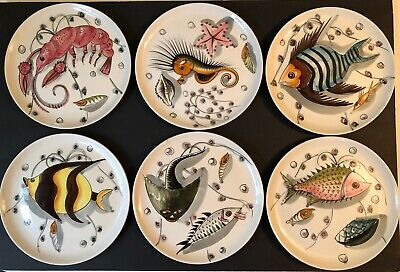 Set 6 Mcm 1950-1960S Mancioli~Fish~Sea Life~Italian Italy Dinner Lunch Plates