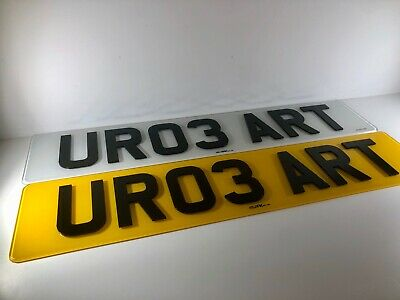 Pair Of Road Legal Front & Rear Raised 4D 3D Laser Cut Gloss Black Number Plates