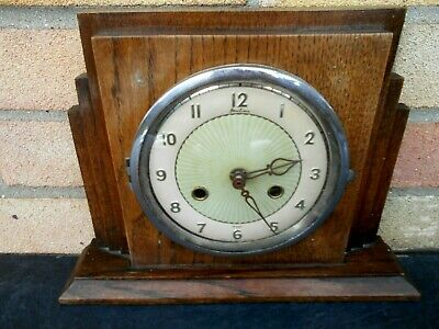 Wooden Unusual Antique 1940-50S  Bentima Hardwood Vintage Mantle Clock
