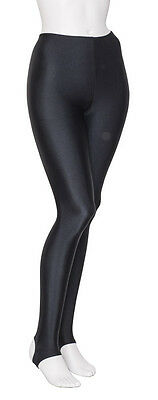 Ladies Girls Black Lycra Shiny Stirrup Dance Gym Ballet Leggings By Katz KDT001