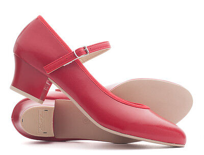 """Ladies Red PU Character Stage Showtime Dance Shoes All Sizes 1.5"""" Heel By Katz"""