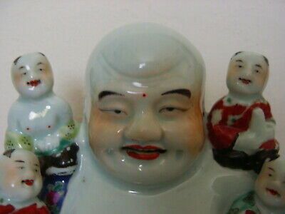 Antique Chinese Famille Rose Buddha with Kids