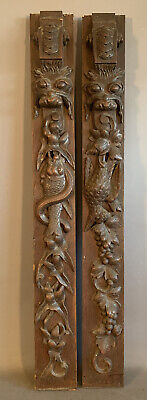 (2) 19thC Antique VICTORIAN CARVED Wood LION FISH BIRD Old ARCHITECTURAL PANEL