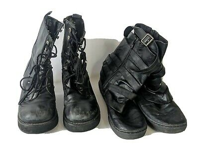 Lot 2 Pairs Womens 8.5 Black Faux Leather Boots