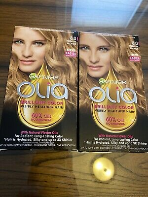 2 Garnier Olia Brilliant Color Permanent Hair Color 8.0 MEDIUM BLONDE