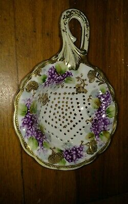 antique Japanese Nippon porcelain tea strainer matching cup hand painted flowers