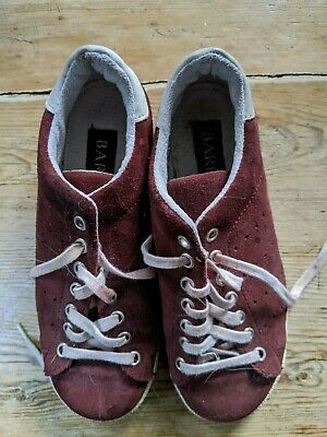 Vintage(1980's) Barrette Suede Burgundy  Lace Up Trainers Size 2.5