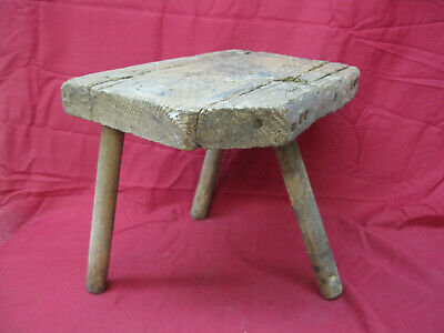 Rustic Antique Primitive Wooden Three Legged Milking Stool