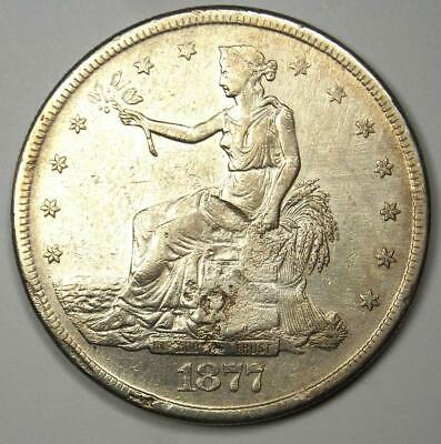 1877-S Trade Silver Dollar T$1 - AU Details with Chop Marks - Rare Coin!