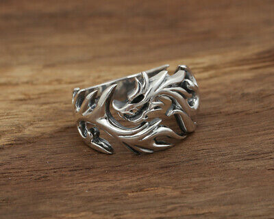 China Old S925 Sterling Silver Jewelry Hand Carved Flame Dragon Exorcism Ring