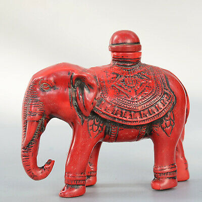 Collectable China Old Red Coral Hand-Carve Lovely Elephant Delicate Snuff Bottle