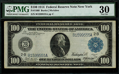 1914 $100 Federal Reserve Note New York FR-1088 - PMG 30 - Very Fine