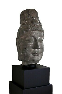 Antique Monumental Chinese Tang Dynasty Carved Limestone Head Of Guanyin Buddha