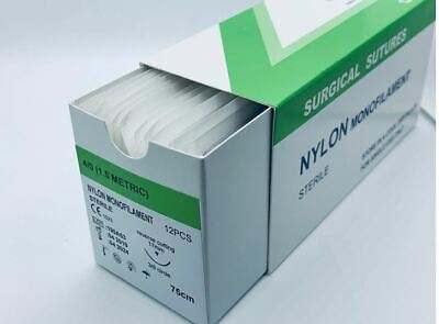 4/0  Surgical Sutures Nylon Monofilament, Pack of 12, Sterile