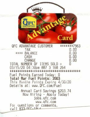 Kroger Fuel Points Card - 2000 Points - Expires 04/30/20 - Physical Card