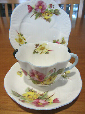 Vintage - ''Shelley''- ''Begonia'' - Cup / Saucer / Plate Trio