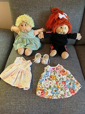 Original 1985 Cabbage Patch Kids Dolls x 2 with Shoes & Handmade Clothing