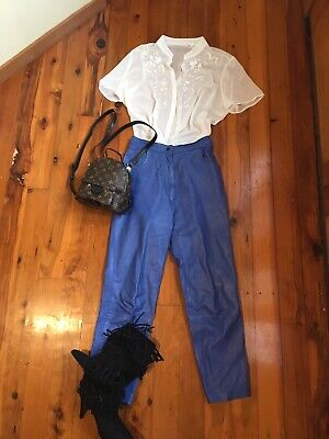 Amazing Electric Blue Vintage 80's High Waisted Coachella Leather Pants