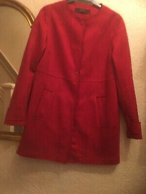 Zara Bright Red Faux Suede Jacket/coat M