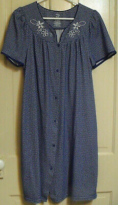 Women's Secret Treasures Navy Dot Embroidered Snap Front Duster Robe Size M