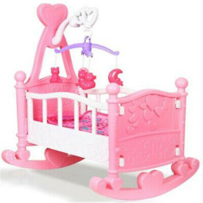 Pink Dolls Rocking Cradle Crib Cot Bed Girls Toy Creative Baby Gifts  UK STOCK