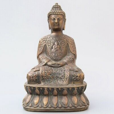 Collect China Old Bronze Hand-Carved Buddhism Kwan-Yin Exorcism Decorate Statue