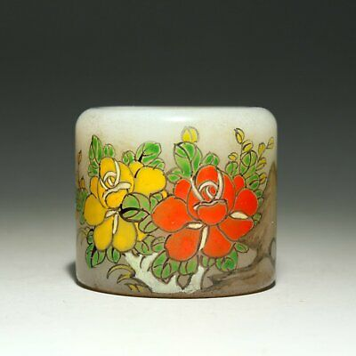 Collectable Old Coloured Glaze Hand-Carved Bloomy Flower & Brid Delicate Ring