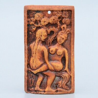 Collectable China Rare Old Resin Hand-Carved Couple Life Delicate Unique Pendant