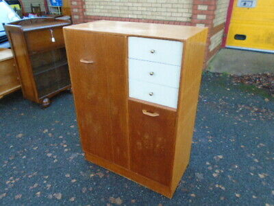 Lovely Oak G Plan 50's Era Brandon Combination Tallboy Wardrobe Chest Of Drawers