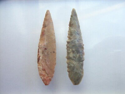 2 Ancient Neolithic Flint Arrowheads, Stone Age,  RARE !!  TOP !!