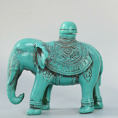 Collect China Old Turquoise Hand-Carve Lovely Elephant Bring Luck Snuff Bottle