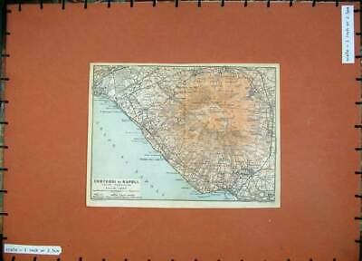 Old Antique Print 1912 Colour Map Italy Contorni Napoli Vesuvio Del Greco 20th
