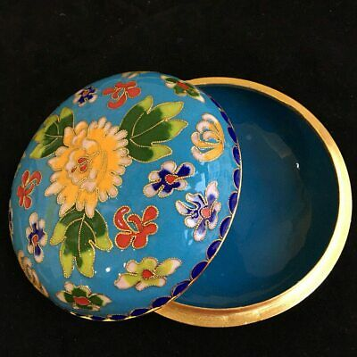 Collectable China Old Cloisonne Hand-Carved Bloomy Peony Flower Luck Jewel Box