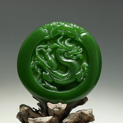 Collectable China Old Jade Hand Carve Myth Dragon Moral Auspicious Decor Pendant