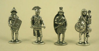 Four Roman Warrior Figures in Fine Pewter SPQR