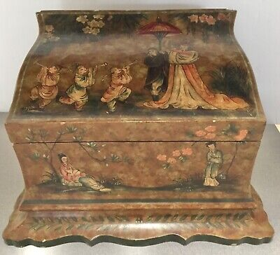 Heavy Wooden Keepsake Jewelry Box With Japanese Chinese Asian Style Theme