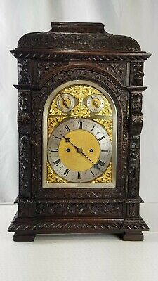 Large Antique Oak twin fusee Gothic Carved Bracket Clock