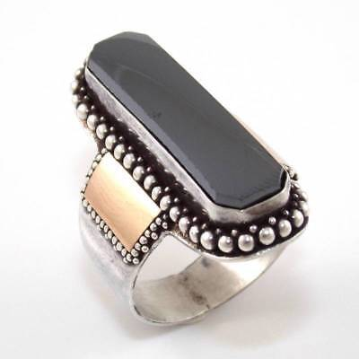 Sterling Silver Hematite Bead Oblong Ring Size 9.25 SEI
