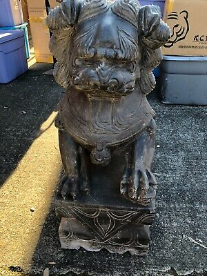 Two Antique Chinese Grey Stone Lion - Foo Dog Statue Beautiful Carving Exquisite