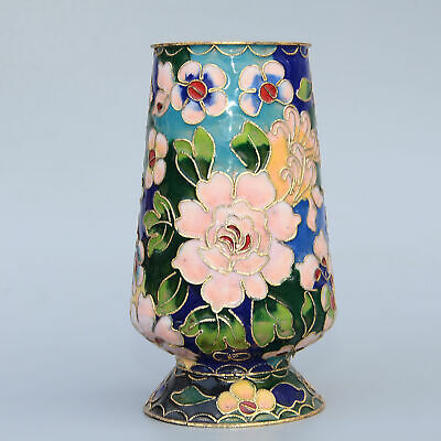 Collectable China Old Cloisonne Hand-Carved Bloomy Flower Delicate Luck Tea Cup