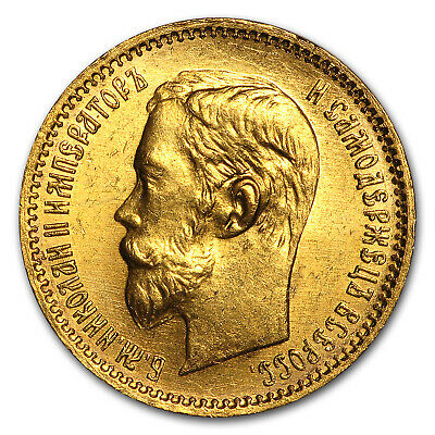1902 Russia Gold 5 Roubles BU - SKU#22462