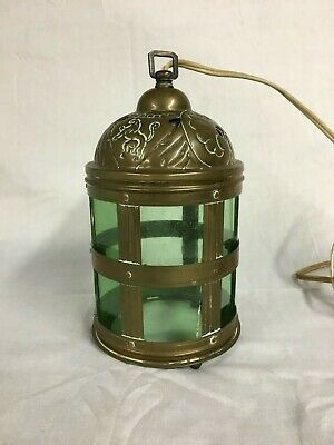 Vintage Antique Hanging Brass Light Fixture Lantern With Green Glass