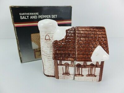 Retro English Country COTTAGE with Snow House Salt & Pepper Shakers NIB