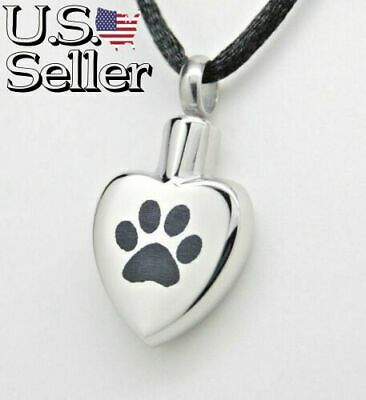 Paw Heart Cremation Urn Necklace, Dog Or Cat Ashes Keepsake, Memorial Jewelry