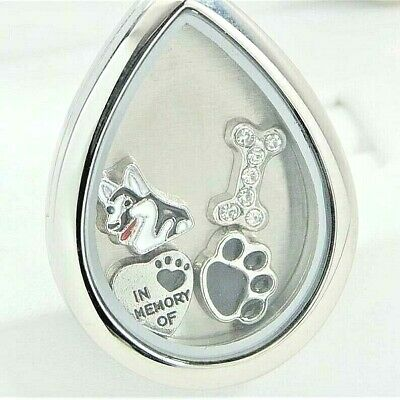 Siberian Husky Tear Memory Locket Necklace, Dog Memorial Jewelry, Pet Loss Gift