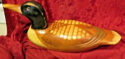 """Hand Carved Wooden Loon Figurine Home Decor 14"""" x 6 1/4"""" x 4 1/4"""" Glass eyes"""