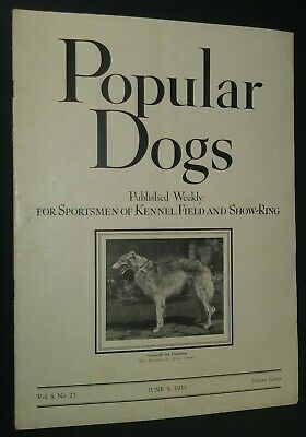 Popular Dogs Illustrated Magazine Borzoi Cover + Champion Photos June 1935