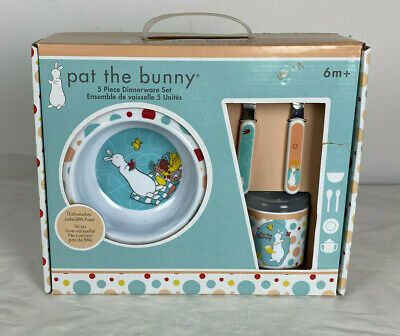 Pat the Bunny 5 Piece Dinnerware Set Plate, Bowl, Cup, Fork,& Spoon - NEW!